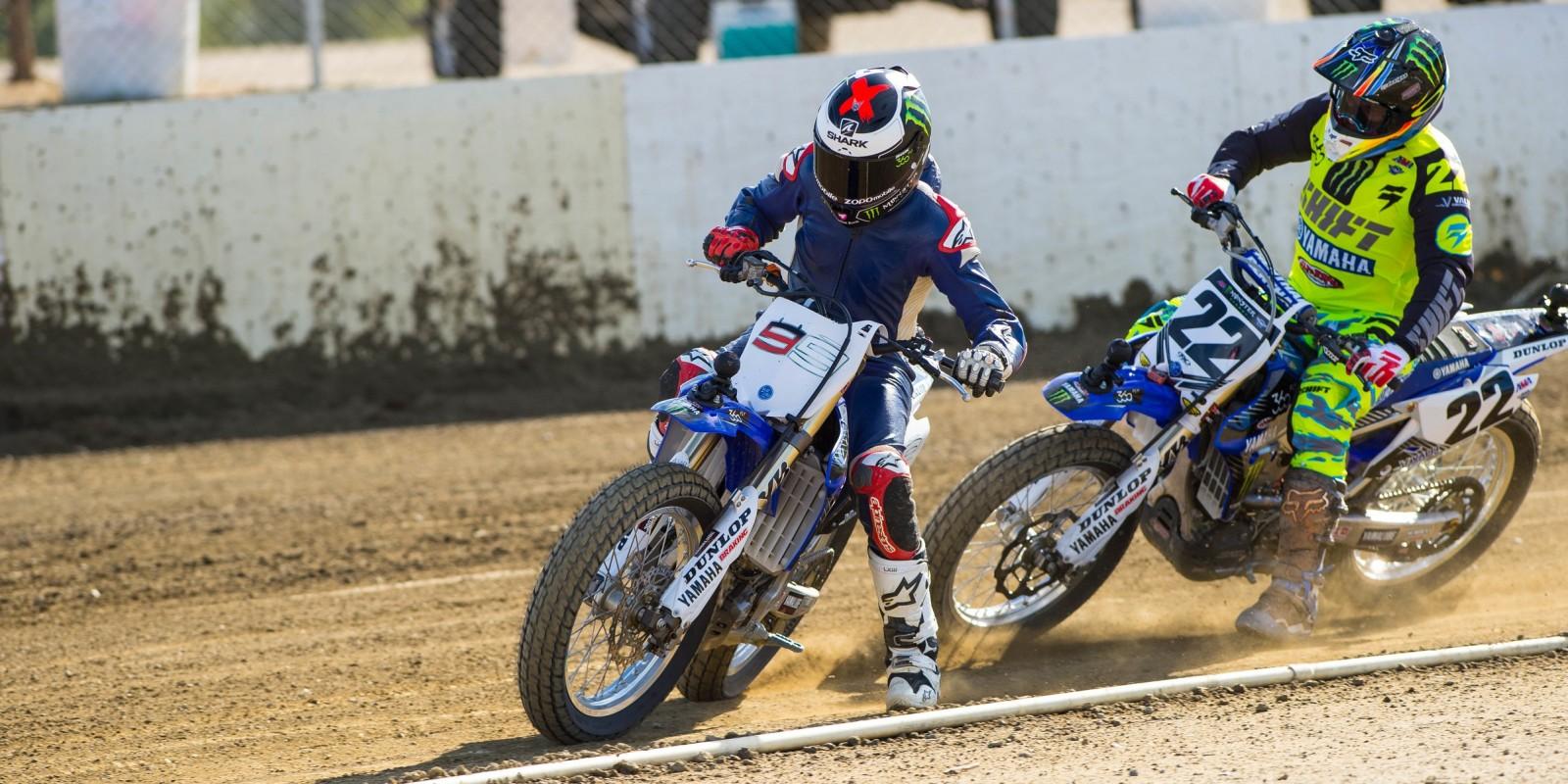 Jorge Lorenzo and Chad Reed race flat track.