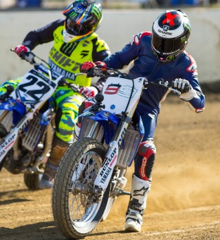 Jorge Lorenzo and Chad Reed race flat track.
