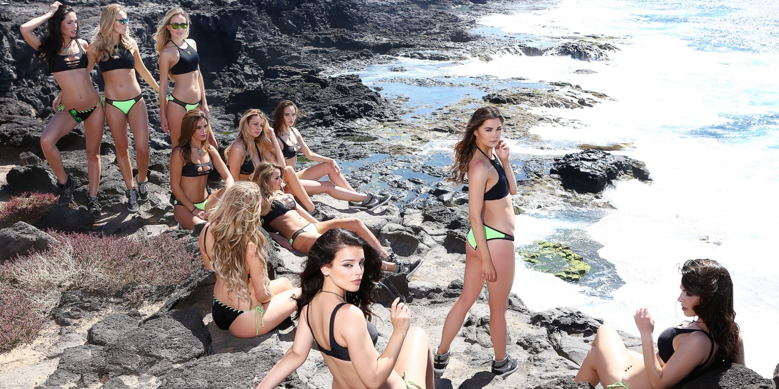 Monster Girls took some time out from Boot Camp for a hot cliff side beach shoot.
