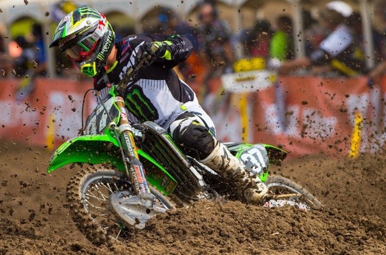 Joey Savatgy competes in the 2015 Ironman Motocross Race.