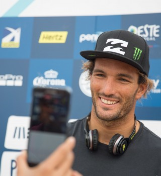Frederico Morais competes in the 2015 Rip Curl Pro in Peniche, Portugal