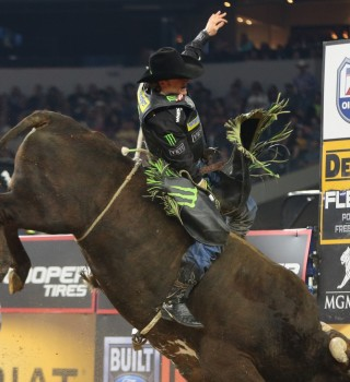 Reese Cates rides Martinez Bucking Bulls, LLC's Acting Crazy for 88.5 during the Iron Cowboy Built Ford Tough series PBR