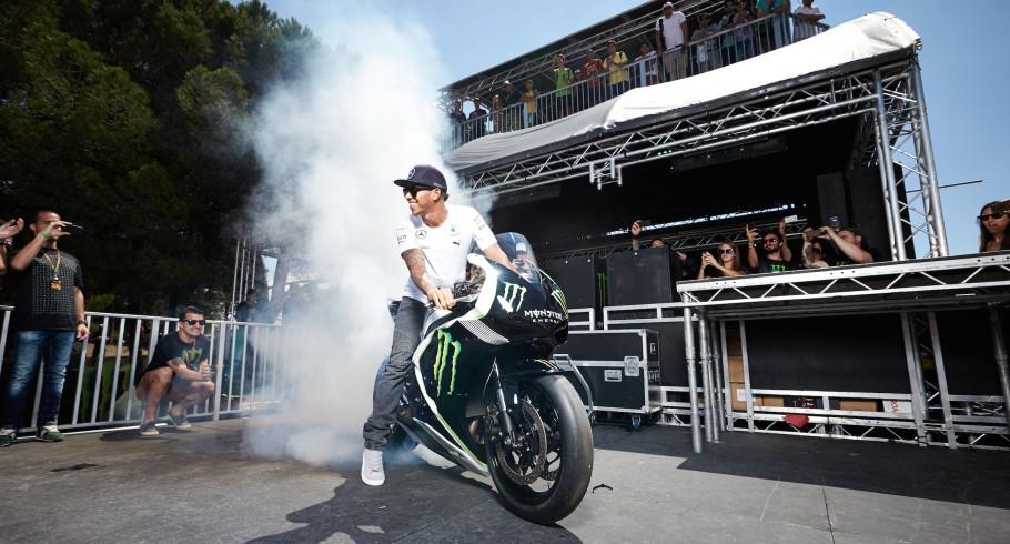 Lewis Hamilton attending the 2014 MotoGP of Spain