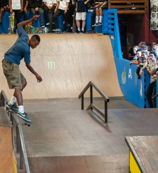 Skateboarders at the 23rd Annual Tampa Pro taking place in Tampa, Florida