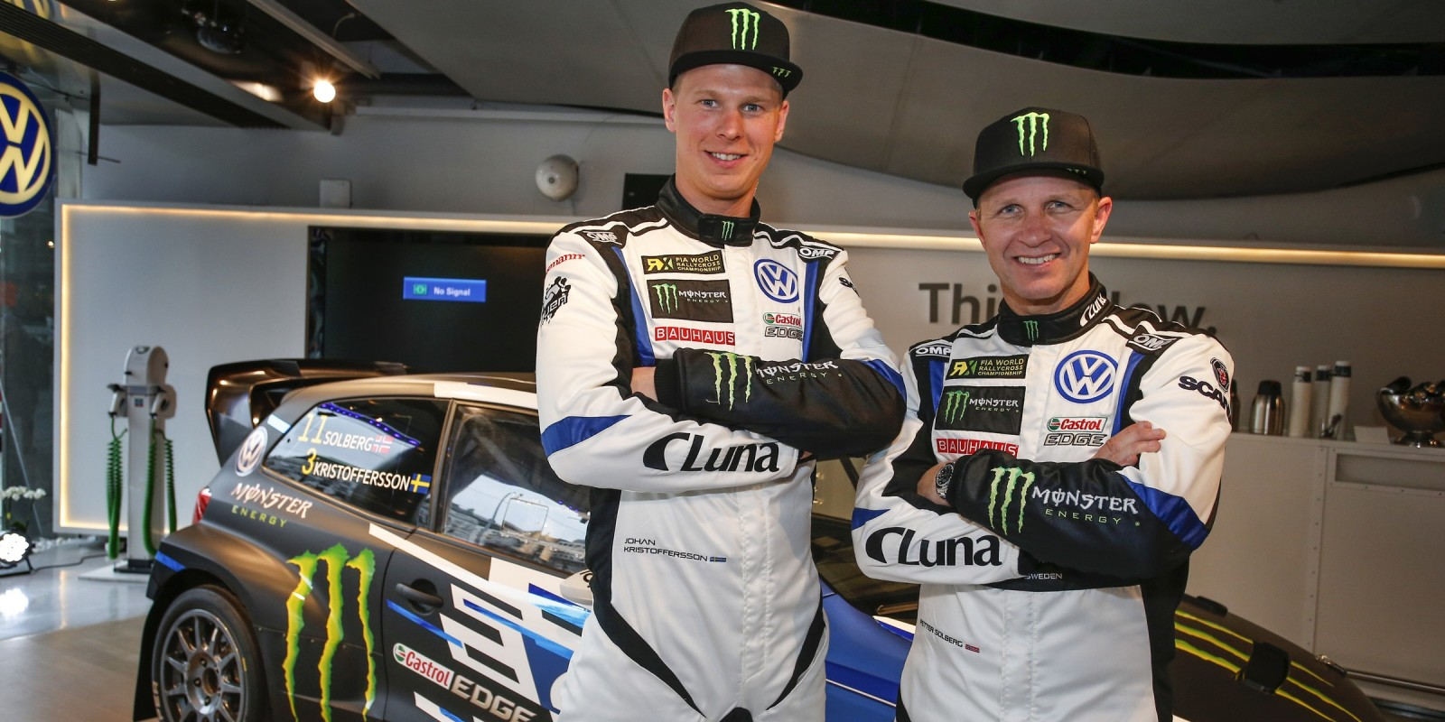 Petter Solberg and Johan Kristoffersson at the 2017 PSRX Team launch in Stockholm, Sweden