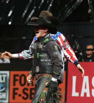 Chase Outlaw rides Dakota Rodeo/Julie Rosens/Clay Struve/Chad Berger's Cooper Tires Brown Sugar for 90.5 during the 15/15 Bucking Battle round of the Sioux Falls Built Ford Tough series PBR