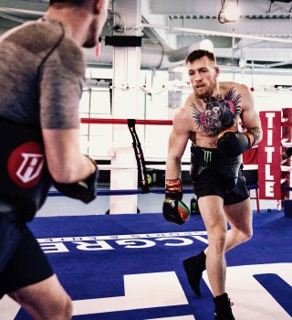 Conor McGregor at training camp for Mayweather fight