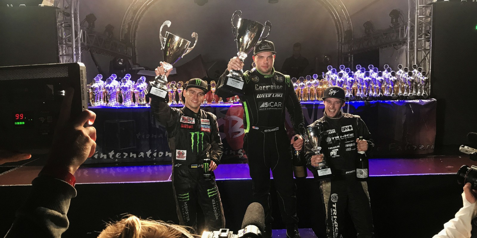 Dmitriy Illyuk on the podium at the Drift GP of Germany