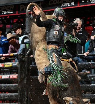 Derek Kolbaba rides JK Elite/Young Bird/Cord McCoy's JJ for 85.5 during the first round of the Oklahoma City Built Ford Tough series PBR.