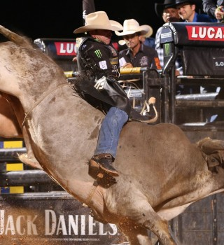 Guilherme Marchi rides Jared Allen's Pro Bull Team's Uncle Tink for 87.75 during the 15/15 Bucking Battle round of the Thackerville Built Ford Tough series PBR