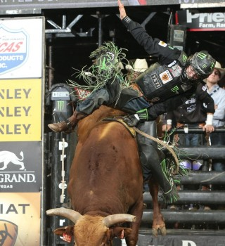 Derek Kolbaba rides D&H Cattle Co./Buck Cattle Co.'s SweetPro's Bruiser for 93 during the championship round of the Colorado Springs PBR Built Ford Tough series PBR.
