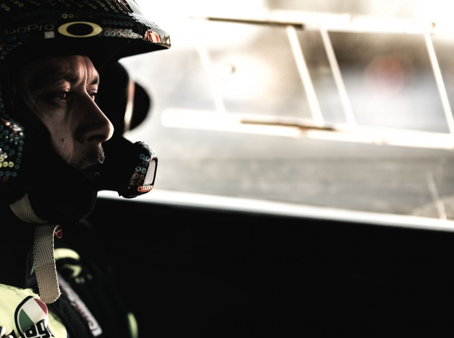 Valentino Rossi in action and celebrating the victory at Monza Rally Show 2017
