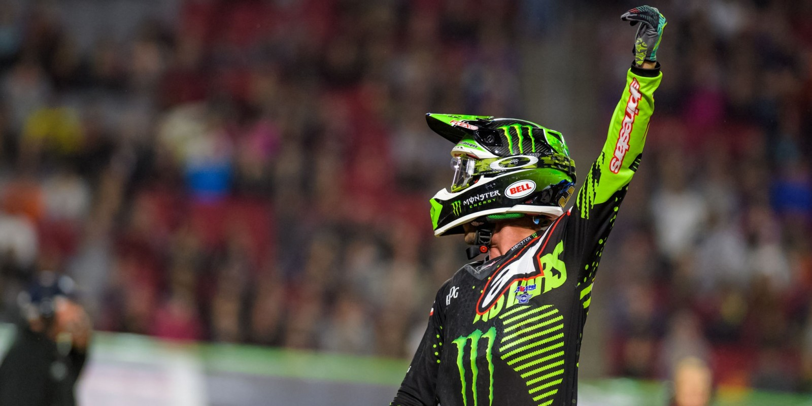 Monster athlete Eli Tomac competing at the 2017 Supercross in Glendale, Arizona