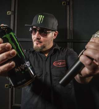 Tim Ripper Owens Hero Card photoshoot with Chad Martel
