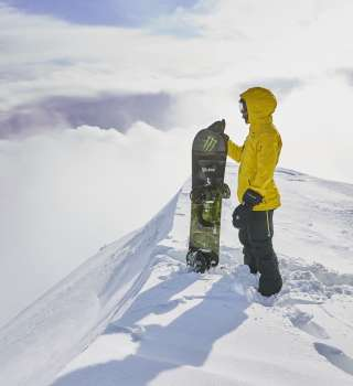 Lewis Hamilton snowboarding in Niseko, Japan