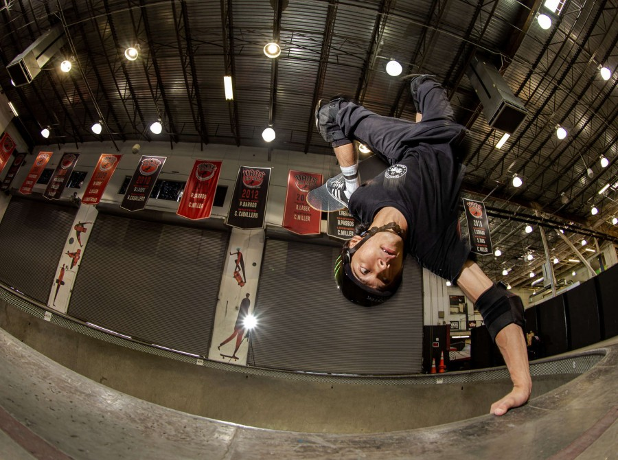 Moto Shibata skateboarding in Orange, California